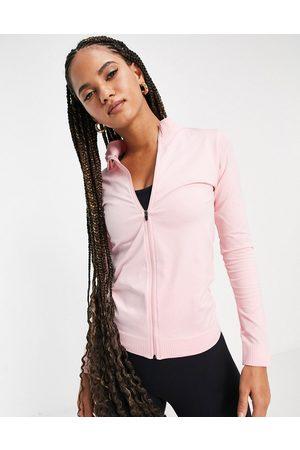 ASOS Seamless rib zip through jacket-Black