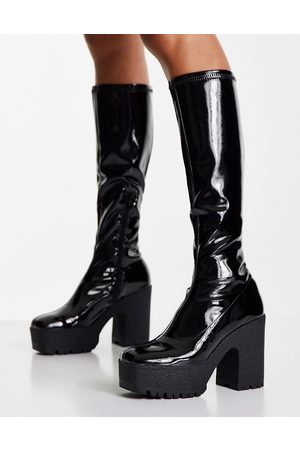 ASOS Cashew heeled knee boots in black patent