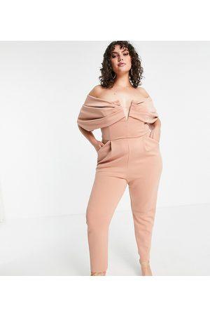 ASOS ASOS DESIGN Curve scuba off shoulder v bar slim leg jumpsuit-Pink