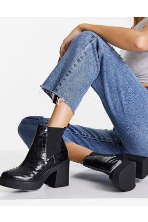 London Rebel Platform ankle boots in black croc