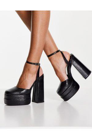 ASOS Pluto platform heeled shoes in black