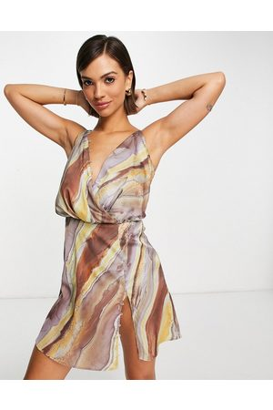 ASOS Bias cut drape cami mini dress with button detail in abstract stripe-Multi