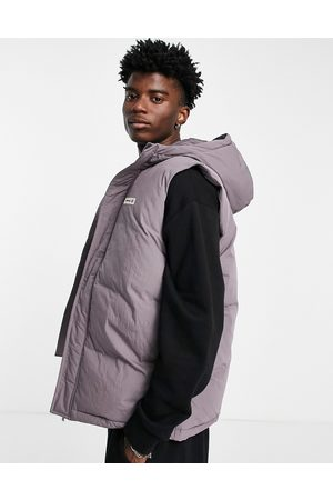 ASOS Day Social longline puffer gilet with hood in purple