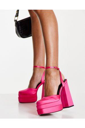 ASOS Pluto platform heeled shoes in magenta-Pink
