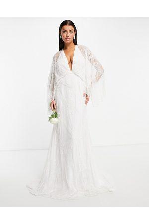 ASOS Aria kimono sleeve wedding dress with floral embellishment-White