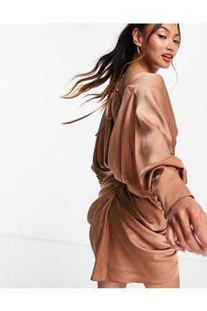 ASOS Drape detail wrap dress with batwing sleeve-Brown