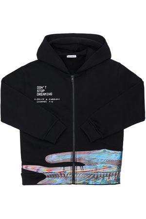 Dolce & Gabbana Meisjes Sweaters - Printed Zip-up Cotton Sweatshirt Hoodie