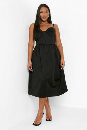 Boohoo Dames Korte jurken - Plus Scuba Sweetheart Skater Dress