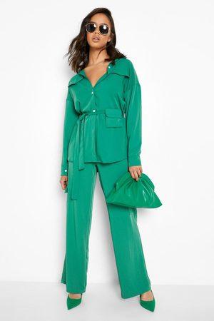 Boohoo Dames Cargo's - Luxe Wide Leg Cargo Broek, Emerald
