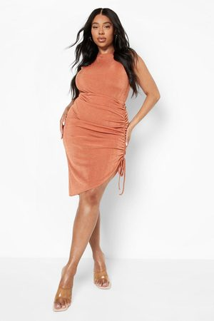 Boohoo Outfit sets - Plus Slinky One Piece And Ruched Skirt Co-Ord, Rust