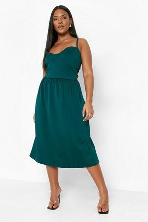 Boohoo Plus Scuba Sweetheart Skater Dress, Emerald