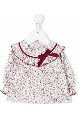 LA STUPENDERIA Baby Blouses - Floral-print ruffle-trim organic cotton blouse