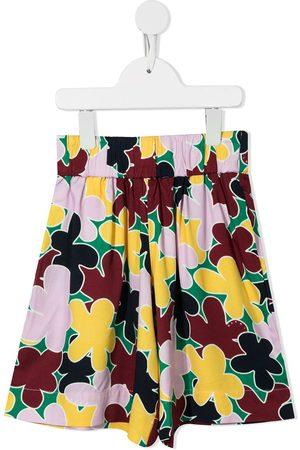 Marni Floral-print wide leg shorts