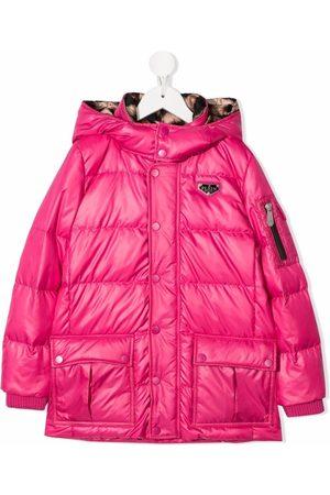 Philipp Plein Meisjes Donsjassen - Satin logo-patch hooded padded jacket