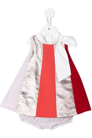 HUCKLEBONES LONDON Vertical-striped rainbow trapeze dress