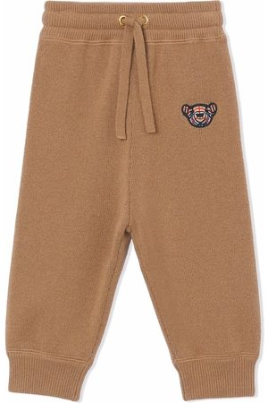 Burberry Thomas Bear-embroidered cashmere trousers