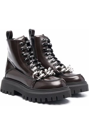 Nº21 Chainlink-detail lace-up boots