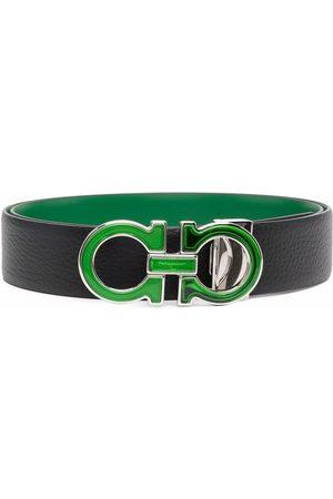 Salvatore Ferragamo Heren Riemen - Logo-plaque leather belt