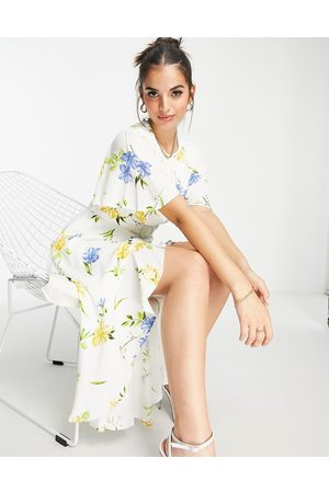 French Connection Floral printed tea dress in white