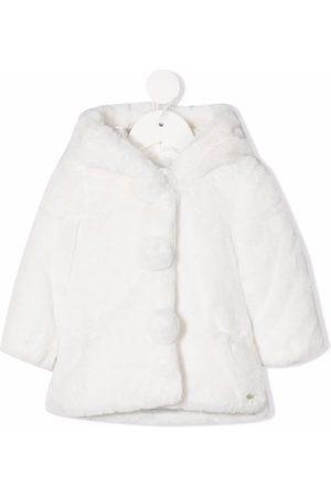 Tartine Et Chocolat Pompom-detail faux-fur coat