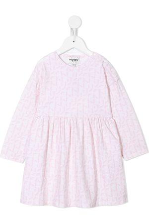 Kenzo Monogram-print long-sleeve cotton dress