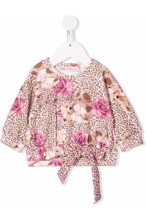 MISS BLUMARINE Floral leopard print blouse