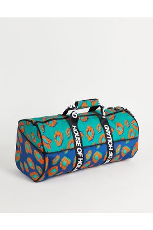 House of Holland Logo pattern holdall bag in blue