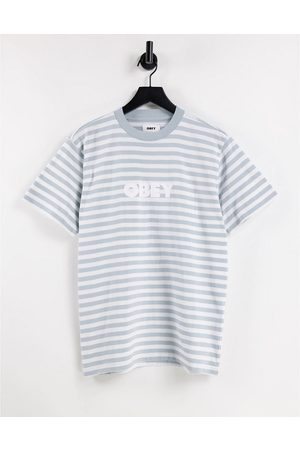 Obey Oversized t-shirt in grey stripe with embroidered logo