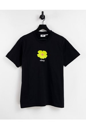 Obey Dames T-shirts - Oversized t-shirt with yellow flower graphic-Black