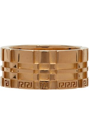 VERSACE Gold Tartan Band Ring