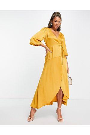 Liquorish Midi wrap dress with balloon sleeves in mustard-Yellow
