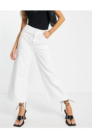 French Connection High waist cropped wide leg jeans in white