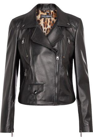 Dolce & Gabbana Dames Leren jassen - Embellished leather biker jacket