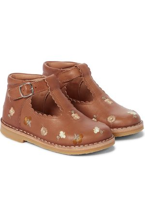 Petit Nord Floral embroidered T-bar leather booties
