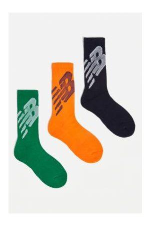 New Balance Heren Sokken - Orange, Green & Blue Crew Socks 3-Pack