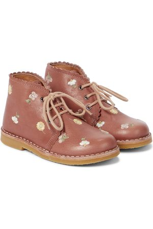 Petit Nord Scalloped embroidered leather ankle boots