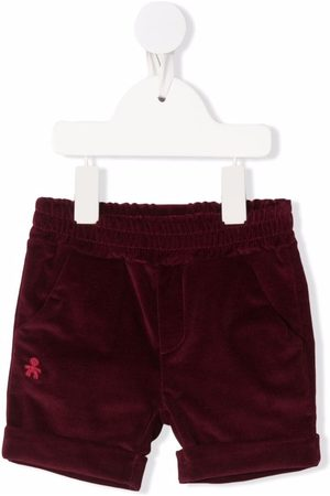 Le Bebé Enfant Shorts - Embroidered-logo velvet shorts