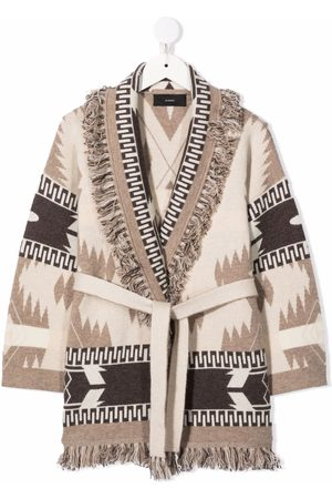 Alanui Abstract-pattern belted coat