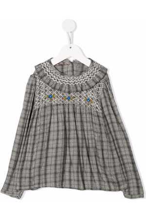 Emile et ida Meisjes Blouses - Checked floral-embroidered blouse