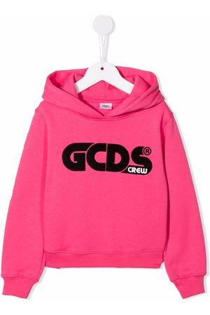 GCDS Logo-print cotton hoodie