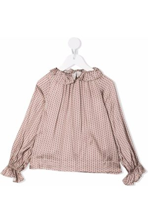 LA STUPENDERIA Polka-dot print frilled-neck blouse