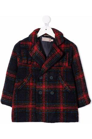 LA STUPENDERIA Meisjes Donsjassen - Tartan-print notched-lapels double-breasted coat