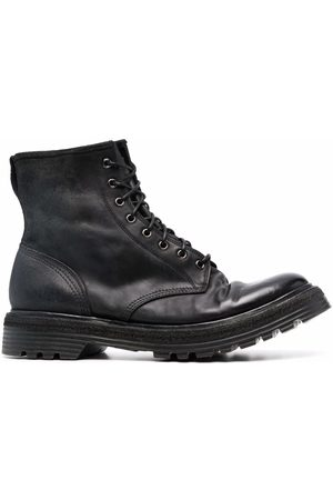 Premiata Distressed lace-up leather ankle boots