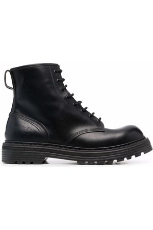 Premiata Heren Enkellaarzen - Panelled lace-up leather ankle boots