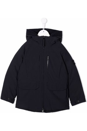 Stone Island Compass-patch hooded down jacket