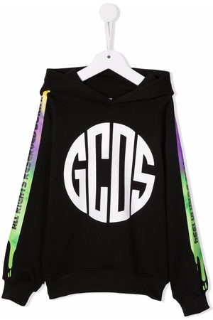 GCDS Oversized logo-tape hoodie