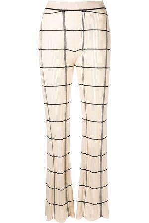 Jil Sander Dames Wijde broeken - Scalloped-cuff plisse checked trousers