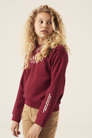 Garcia Meisjes Hoodies - Rode hoodie met tekst print gs120802 2546 cabernet