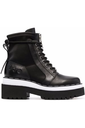 Liu Jo Embossed leather combat boots