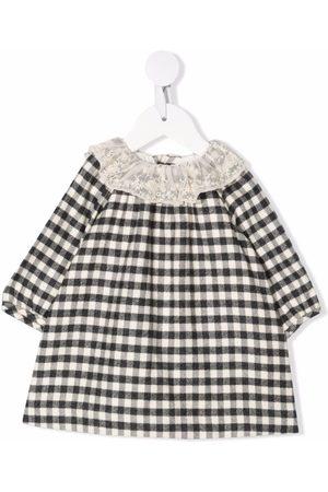 BONPOINT Check-print contrast-collar dress